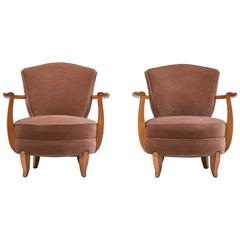 Pair of French Art Deco Fauteuils in Cherrywood with Velvet Upholstery, 1940s