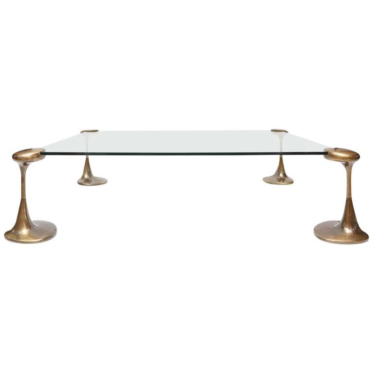 Magnificent Bronze And Glass Coffee Table For Sale At 1stdibs