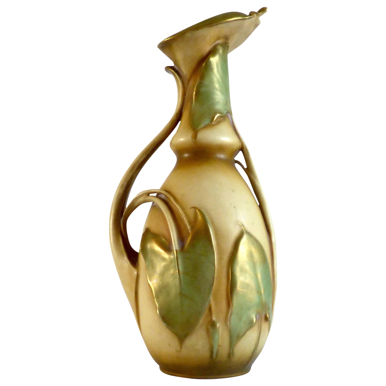 Ceramic Vase Art Nouveau Pottery Turn-Teplitz Bohemia Amphora, Austria
