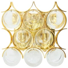 Palwa Single Wall Sconce, Gilded Brass and Crystal Glass 1960s