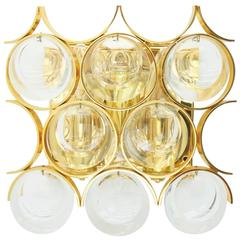 Single Wall Sconce, Gilded Brass and Crystal Glass, by Palwa, 1960s