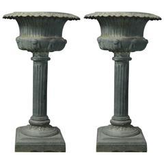 Pair of 20th Century, French Cast Iron Pedestal Garden Urns