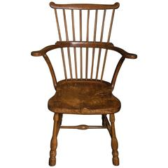 Rare Pennsylvanian Hickory and Maple 'Windsor' Comb-Back Chair, Mid-18th Century