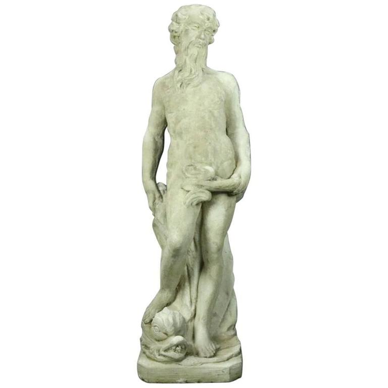 20th century vintage classical greek figural garden sculpture of poseidon for sale at 1stdibs - Poseidon statue greece ...