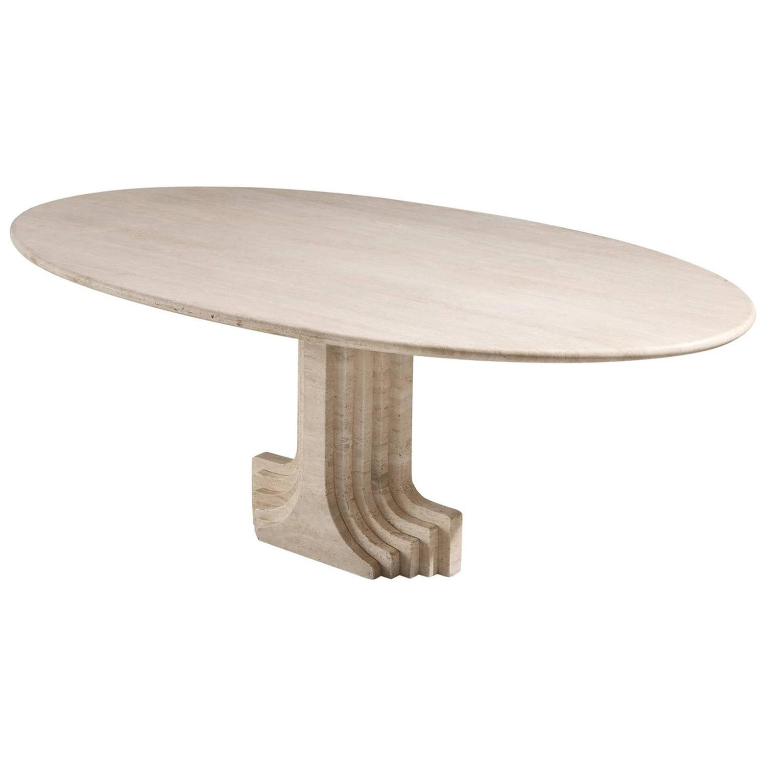 Italian Travertine Marble Octagonal Dining Table by Roche Bobois