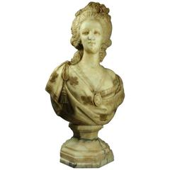 Antique Italian Carved Marble Bust after Houdon of Marie Antoinette, circa 1850