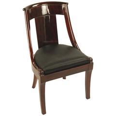 Gondola chair mahogany horsehair cover restored, France, circa 1810
