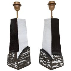 Pair Ceramic Lamp Bases Glazed in Black and White