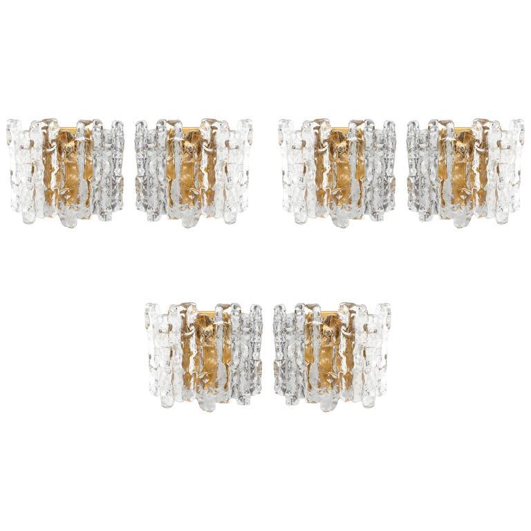 Set of Glass Sconces by Kalmar, 1970
