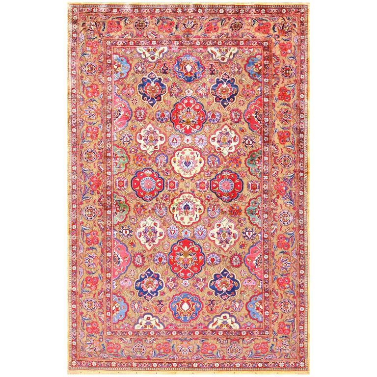Captivating Fine Silk And Metallic Thread Persian Souf Kashan Rug 1