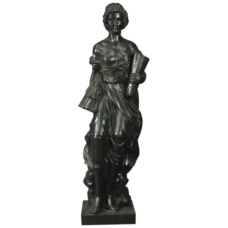 Antique Classical Figural Cast Iron Garden Sculpture Of Peasant Woman Circa  1880
