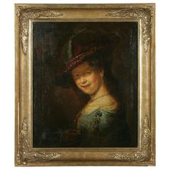 19th Century Barock Style Oil Painting Saskia Smiling with Feather Bar