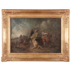 19th Century Oil Painting Battle Scene from Adam Eugen
