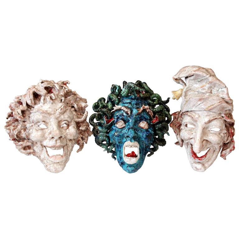 Professor Eugenio Pattarino Studio Set Italian Pottery Face Masks, 1950s