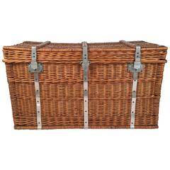 French Lined Wicker Trunk, Hamper or Coffee Table