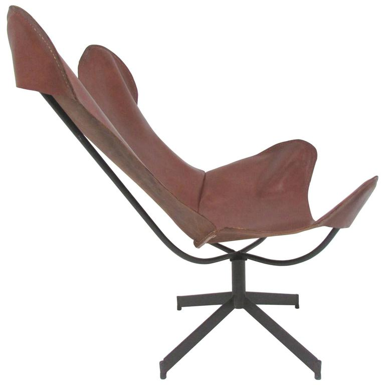 Swivel Leather Sling Lounge Chair by Leathercrafter, New York, circa 1960s