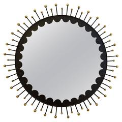 Splendid Decorative Italian Black Metal and Brass Mirror, circa 1950s