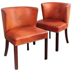 Frits Henningsen Pair of Chairs in Patinated Leather 1930s