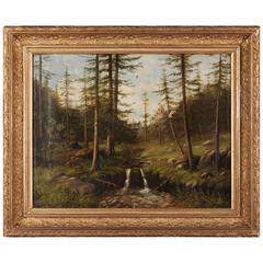 19th Century Biedermeier Oil Painting Forest Landscape