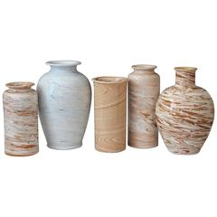 Collection Vintage Bitossi Italian Pottery Ceramic Raymor Marbleized Vases
