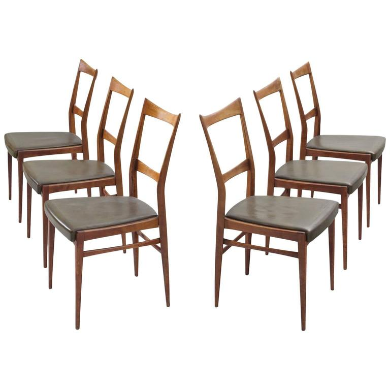 Scandinavian Dining Chairs in Walnut For Sale