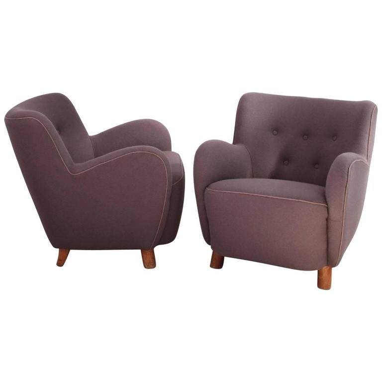 Pair of Mogens Lassen Easy Chairs in Dusty Purple Wool, 1940s For Sale