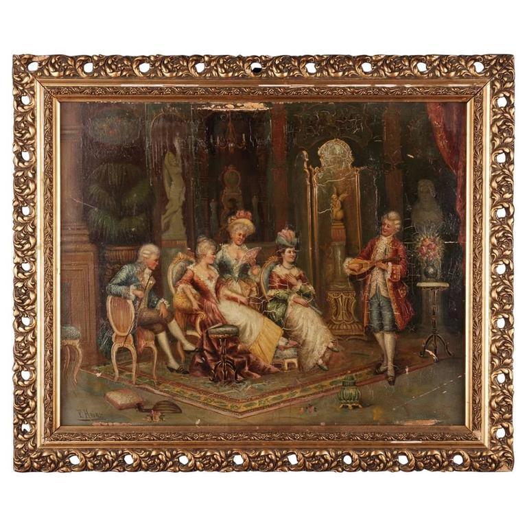 19th Century Baroque Oil Painting Rococo Scene