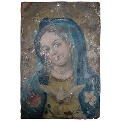 Early 19th Century Spanish Retablo Painting of Maria on Tin