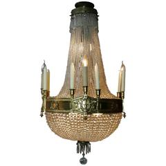 19th Century Empire Style French Basket Chandelier