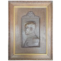Oak and Plaster Cameo 1909 Royal Coronation Plaque of King Albert of Belgium