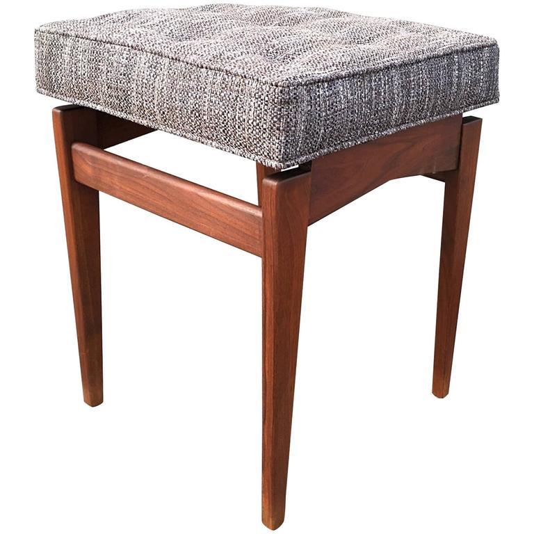 Upholstered Stool in Walnut by Jens Risom