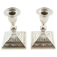 Hallmarked Pair of Candlesticks, 925 Sterling Silver, Sheffield, 1891