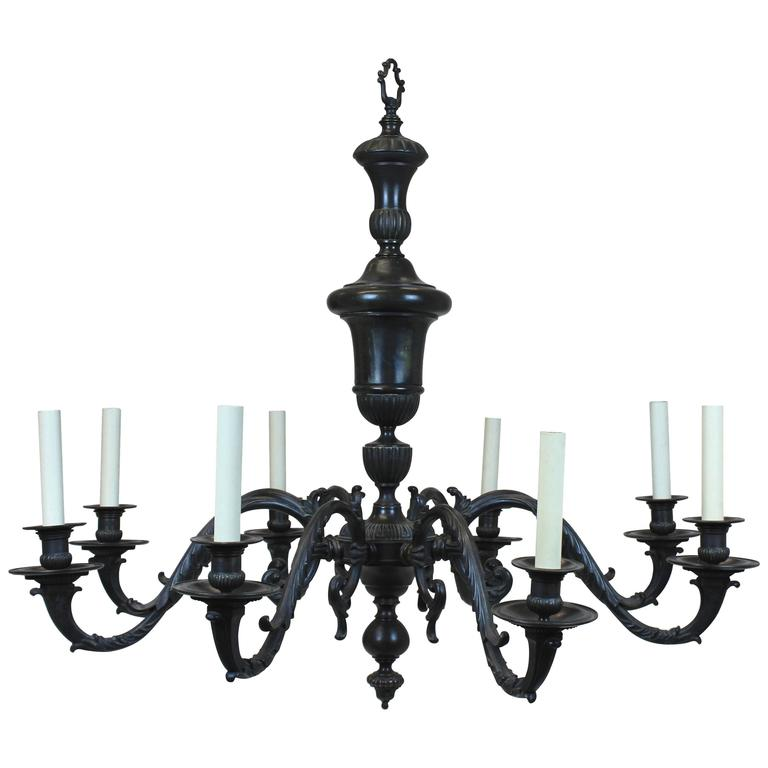 Large Bronze 17th Century Style Chandelier For Sale