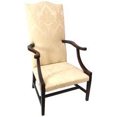 18th Century Massachusetts Hepplewhite Mahogany Inlaid Lolling Chair