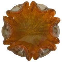 Italian Murano Art Glass Bowl in Marigold Yellow