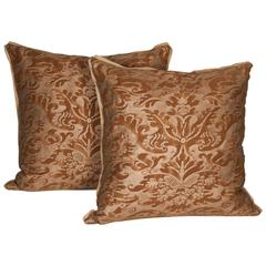Pair of Vintage Fortuny Fabric Cushions in the Sevigne Pattern