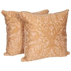 Pair of Vintage Fortuny Fabric Cushions in the Campanelle Pattern