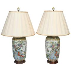 Pair of Gilt Metal Mounted Chinese Porcelain Urns Fitted as Lamps