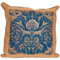 Single Mitered Vintage Fortuny Fabric Cushion in the Demedici Pattern