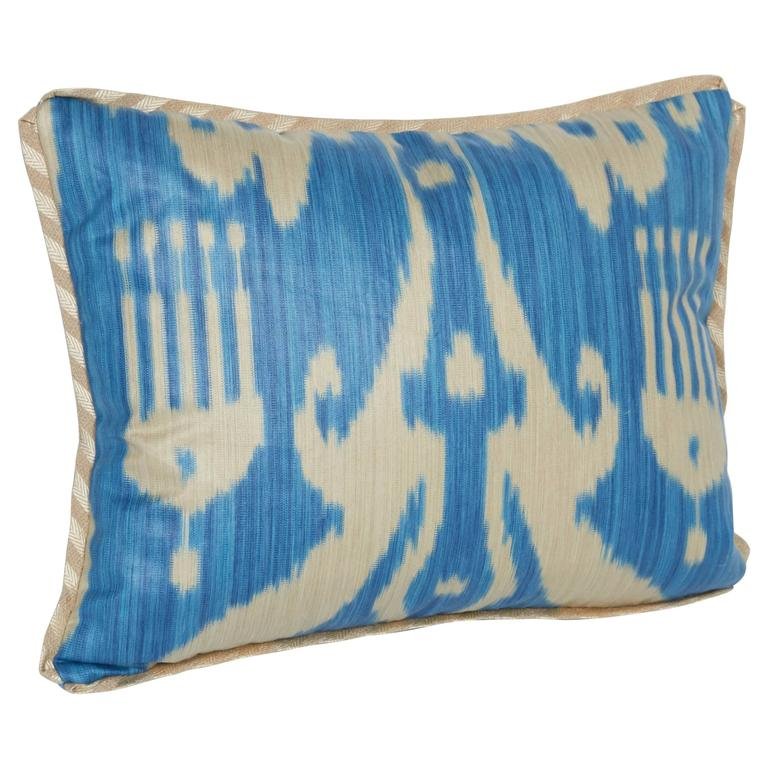A Newly Made Lumbar Cushion in Vintage Ikat Fabric For Sale