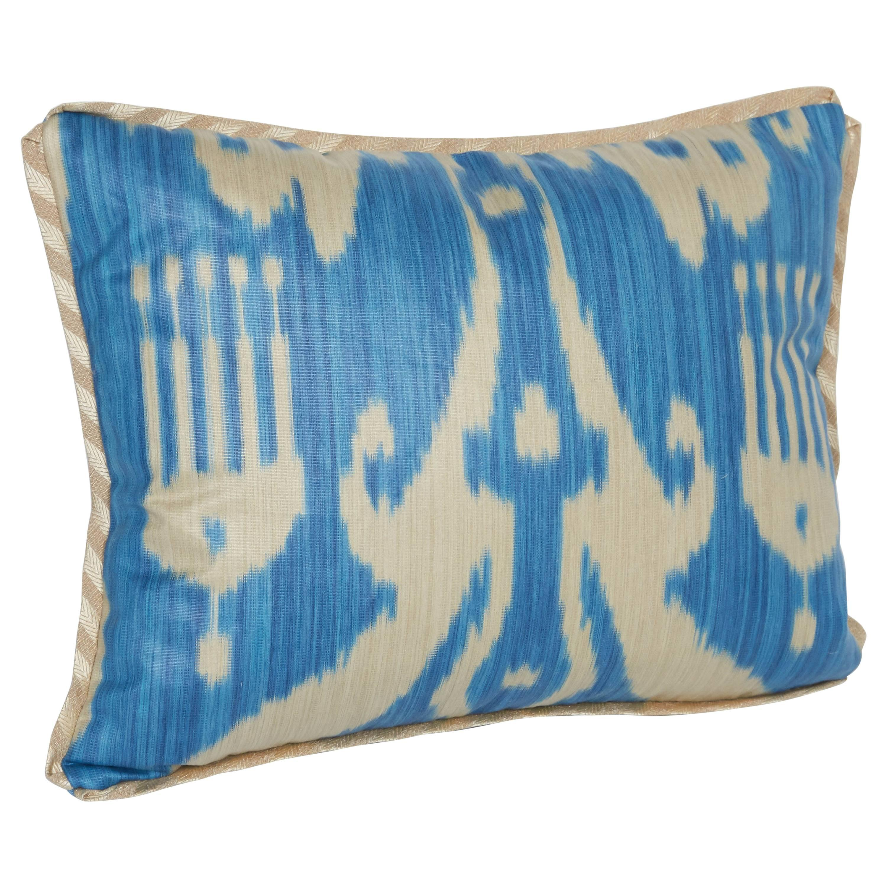 A Newly Made Lumbar Cushion in Vintage Ikat Fabric