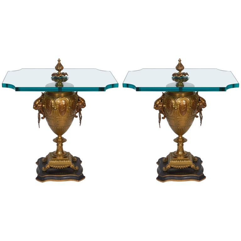 Pair of Renaissance Revival Gilt Bronze Urn Form Tables 1