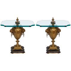 Pair of Renaissance Revival Gilt Bronze Urn Form Tables