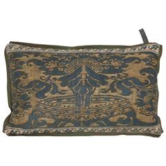 Single Vintage Fortuny Fabric Lumbar Cushion in the Coronet Pattern