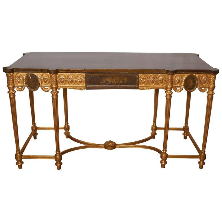 English Neoclassical Style Satinwood and Giltwood Console Table 1