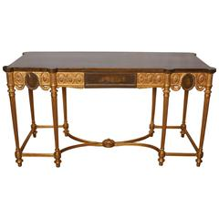 English Neoclassical Style Satinwood and Giltwood Console Table