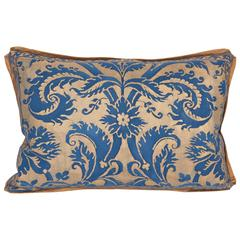 Single Vintage Fortuny Fabric Lumbar Cushion in the Demedici Pattern