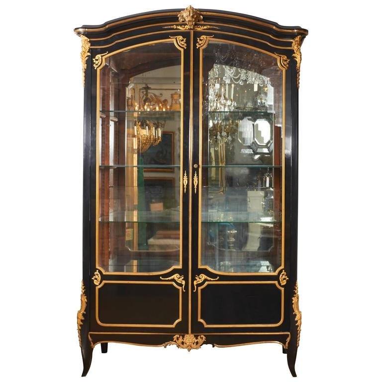 French Louis XV Style Ormolu Mounted Ebonized Two-Door Bibliotheque 1