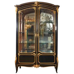 French Louis XV Style Ormolu Mounted Ebonized Two-Door Bibliotheque
