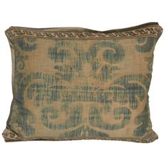 Single Vintage Fortuny Fabric Cushion in the Tulipano Pattern